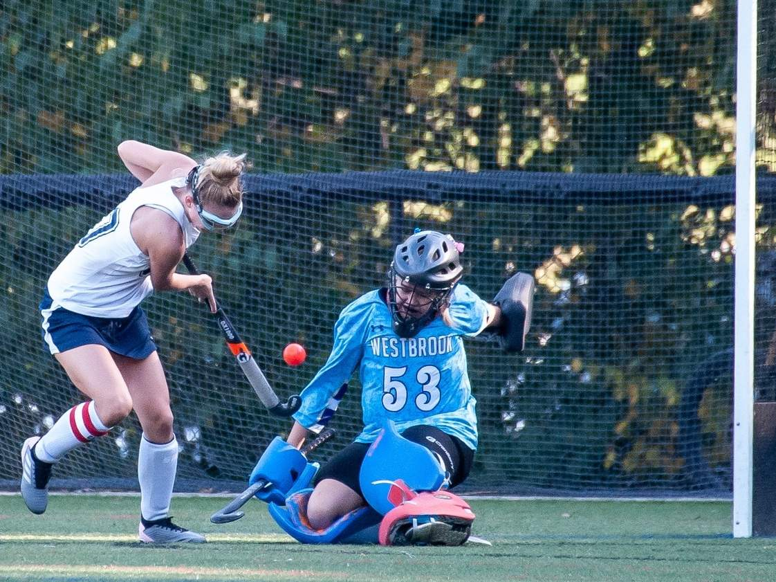 Senior goalie Lauren Horne and the Westbrook field hockey team will look to continue their run of success in 2020. Horne had an outstanding year in 2019, earning National Field Hockey Coaches Association High School All-Region honors.  File photo by Kelley Fryer/Harbor News