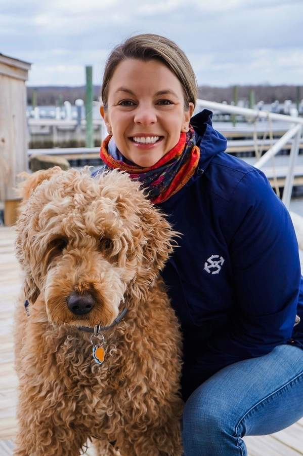 Amy Zupan and Tuck are regulars on the Essex waterfront, where Amy manages the Essex Island Marina. Photo courtesy of Amy Zupan