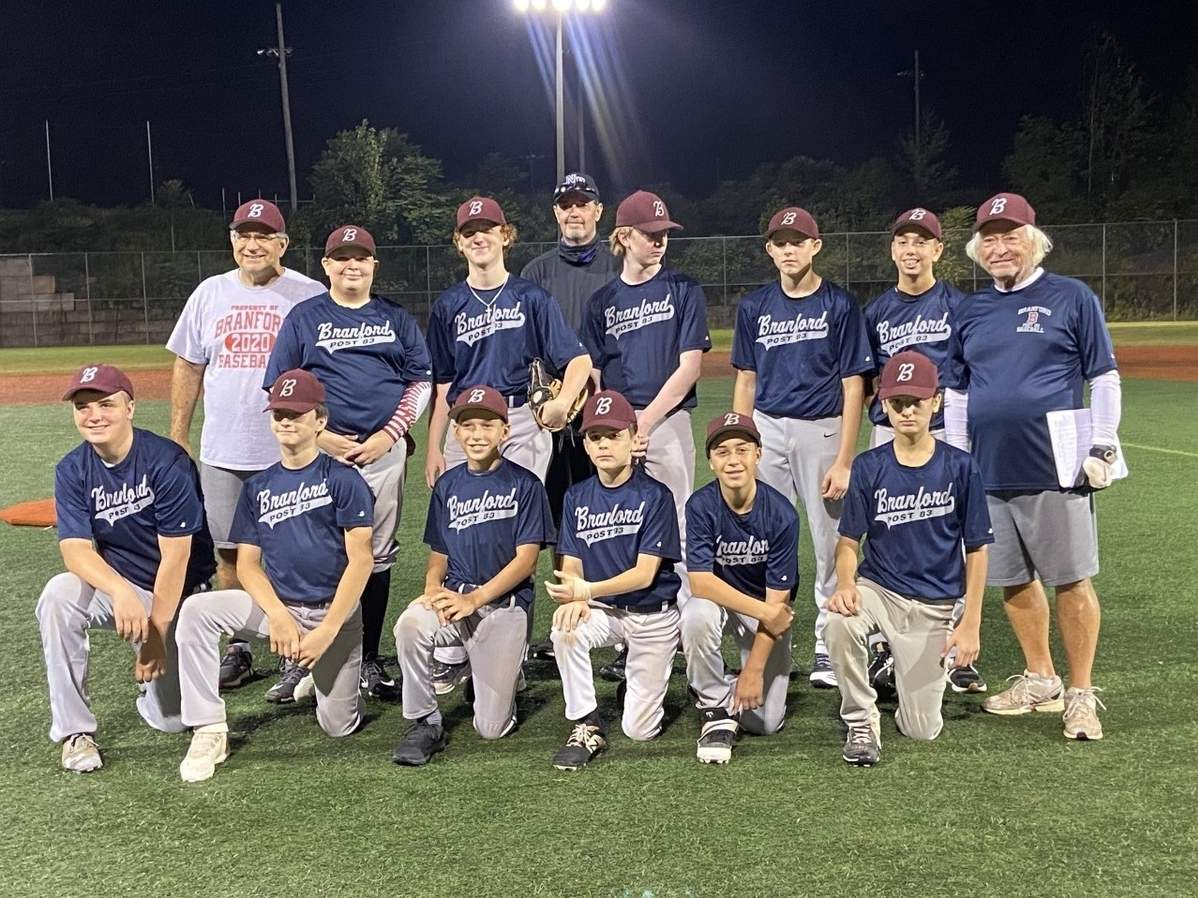 The Branford Legion U-14 baseball team posted a record of 11-8 in the Connecticut Baseball League this summer. Pictured from the team are (front) Brandon Collins, Jaeden Konesky, Adam Virginelli, Anthony Sullivan, Jason O'Connor, and Jason Cosgrove with (back) assistant coach Stephen Prota, Jayden Giardina, Cameron Garrett, Head Coach Billy Mitchell, David Carroll, Kyle Stegina, Matthew Scalia, and assistant coach Stan Konesky, Jr. Missing from the photo are Kyle Anderson and Tim Rice. Photo courtesy of Dea Baldwin