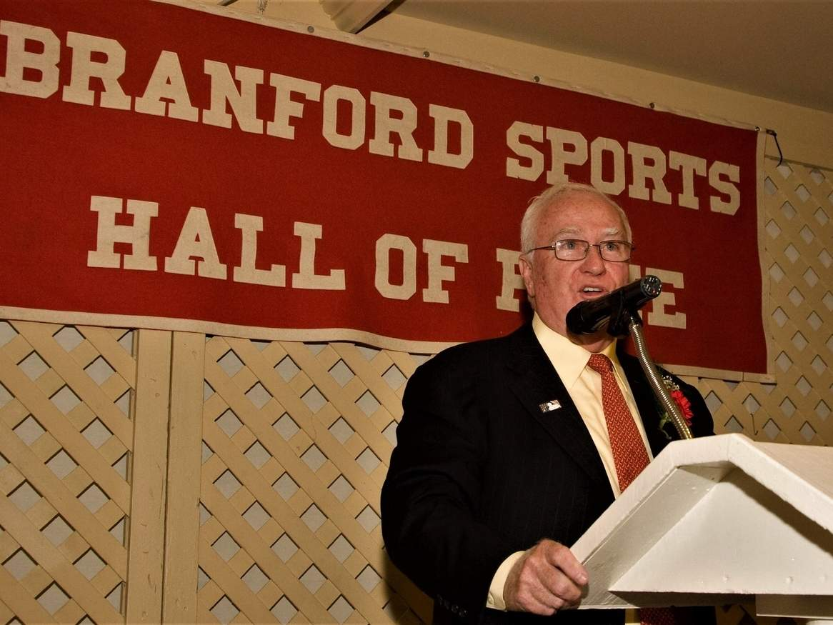 Bob DuPuy, the former Chief Operating Officer of Major League Baseball, was raised in Branford and was inducted into the Branford Sports Hall of Fame in 2009. This year's Hall of Fame dinner was canceled as a result of COVID-19. Photo courtesy of Bill O'Brien