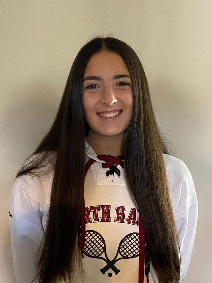 Ally Vollero notched mark of 20-3 in her freshman season with the North Haven girls' tennis team. Now a junior, Ally is penciled in to move up from No. 2 singles to No. 1 singles next spring. Photo courtesy of Ally Vollero
