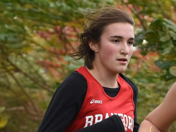 Stephanie Toste and the Branford girls' cross country are hosting Guilford and Sheehan for their lone home meet of the season at the Supply Pond. File photo by Kelley Fryer/The Sound