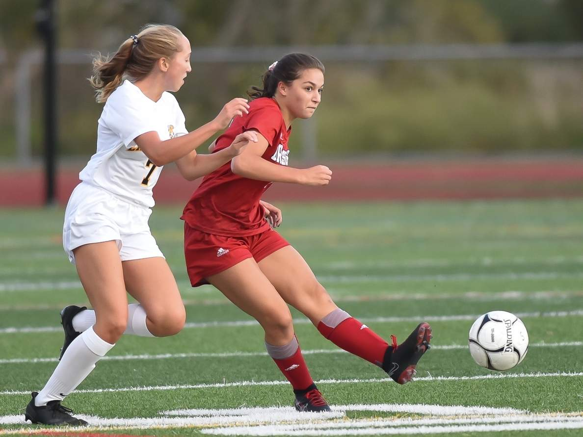 Sophomore Ava Ferrie hit a penalty kick in the first half that lifted the Branford girls' soccer squad to a 1-0 win over East Haven in its first game of the 2020 season. Photo by Kelley Fryer/The Sound