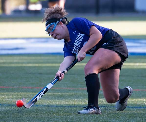 Bailey Roberts and the Westbrook field hockey team played Valley Regional to a tie on Oct. 9. Roberts scored a goal for the Knights in the contest.  File photo by Kelley Fryer/Harbor News