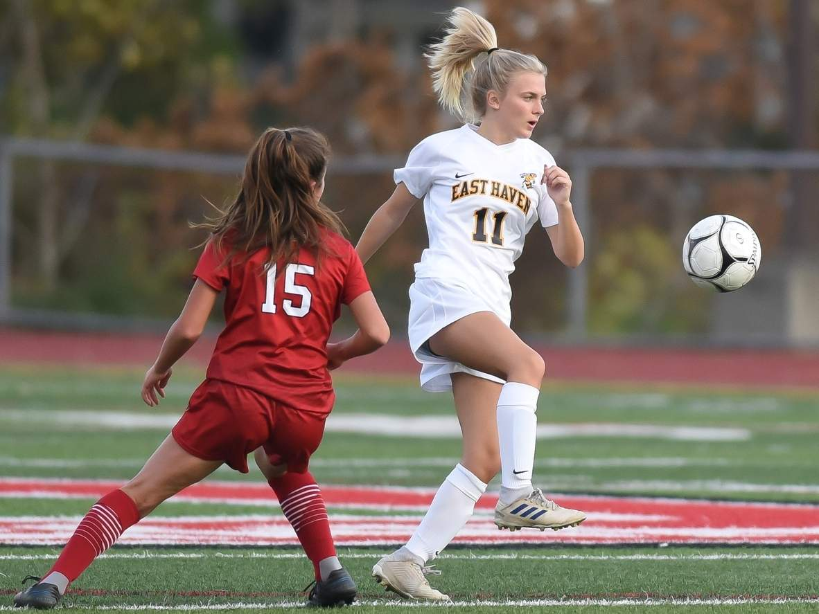 Junior Emily Pycela netted four goals to lead the East Haven girls' soccer squad to a 6-2 road victory versus Wilbur Cross on Oct. 17. File photo by Kelley Fryer/The Courier
