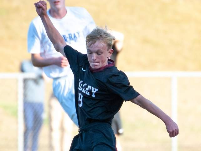 Junior Jake Burdick and the Valley boys' soccer squad played a pair of games and had win and a loss between the two contests. Burdick has been a key offensive player for the Warriors and supplied two goals in their win over Portland on Oct. 17. File photo by Kelley Fryer/The Courier