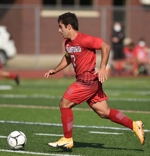 Senior Raffaele Ciarleglio scored two goals and assisted on another when the Branford boys' soccer squad notched a 3-0 victory at Wilbur Cross on Oct. 13. File photo by Kelley Fryer/The Sound