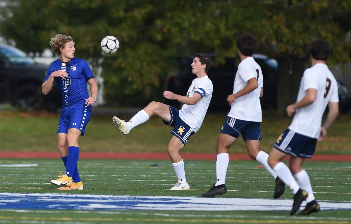 Haddam-Killingworth boys soccer lost 0-2 to Old Saybrook at Old Saybrook High School. Colby Whitehead  (6) Photo by Kelley Fryer/The Source