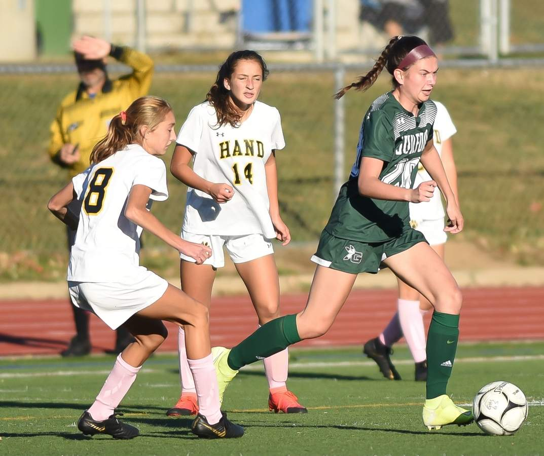 Guilford girls soccer tied Daniel Hand 2-2 at home. Moira Kellaher  (20) Photo by Kelley Fryer/The Courier