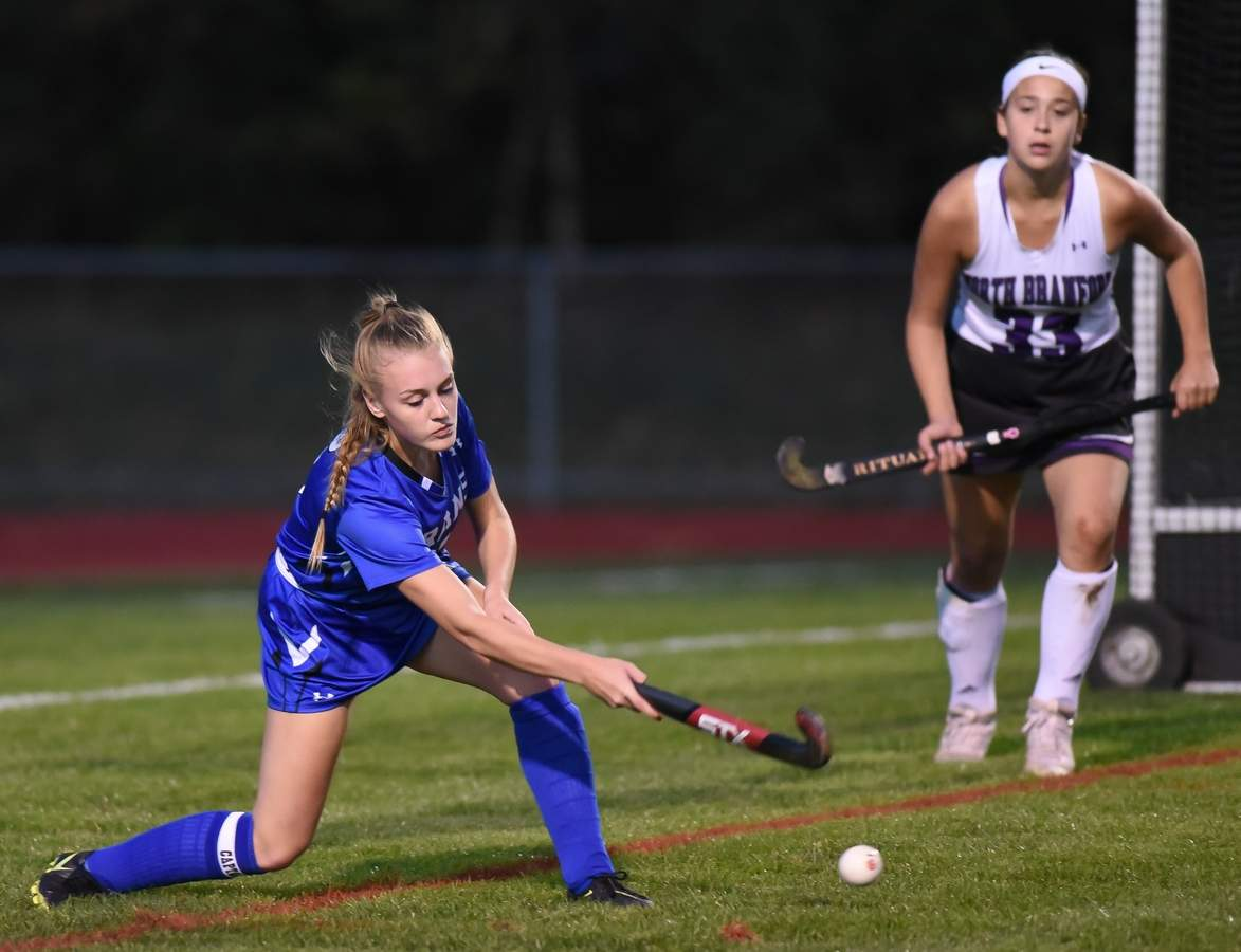 Old Saybrook girls field hockey lost 3-4 to North Branford at North Branford High School. Kayla Holt (1) Photo by Kelley Fryer/Harbor News