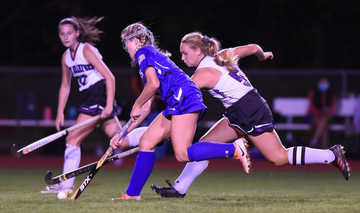 North Branford girls field hockey beat Old Saybrook 4-3 at home. Kelli Jacobson (5) Photo by Kelley Fryer/The Sound