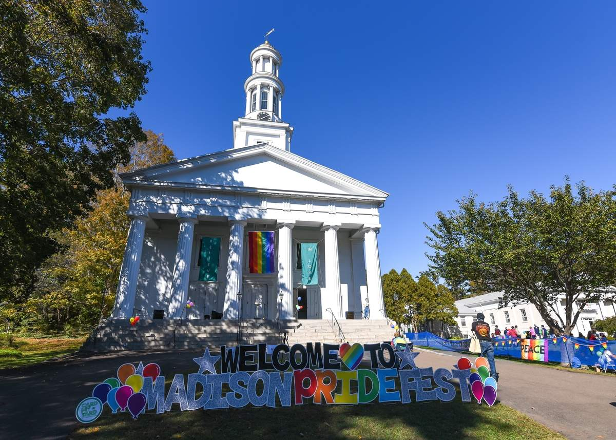 Madison Diversity and Inclusion Committee held the first Madison Pridefest on the Madison Green and First Congregational Church Lawn with live music and speeches on the steps of the church, and LGBTQ+ businesses and organizations on the lawn.  Photo by Kelley Fryer/The Source
