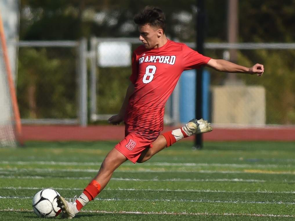 Senior Rocky Verdesoto contributed an assist when the Branford boys' soccer team played Wilbur Cross to a 2-2 tie on Oct. 20.  File photo by Kelley Fryer/The Sound