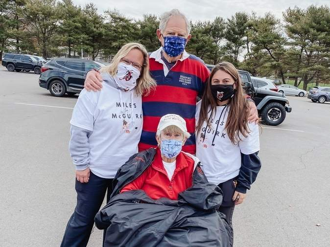The MilesForMcGuirk virtual 5K fundraiser raised more than $15,000 for ALS research in support of legendary Branford field hockey coach Cathy McGuirk. Pictured are (front) McGuirk with (back) program alum Nancy Kendrick, the president of the Branford Booster Club; McGuirk's husband John McGuirk, who coached the Hornets with her; and program alum Jenna Limone, who is now an assistant coach with the team. Photo courtesy of Jenna Limone
