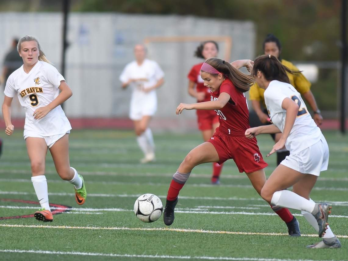 Freshman Joelle Budz posted a goal when the Branford girls' soccer team defeated East Haven by a 4-0 score on Oct. 26. File photo by Kelley Fryer/The Sound