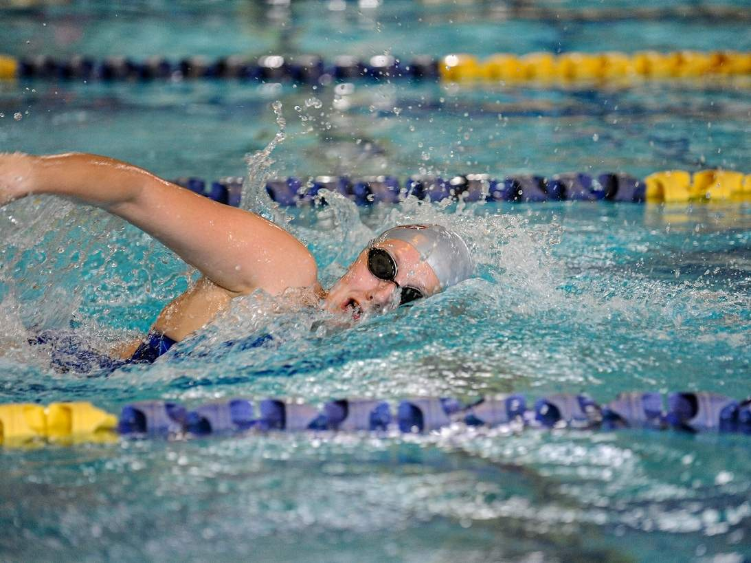 Sophomore Norah Rome swam her way to victory in a pair of events when the Yellowjackets took a 75-60 defeat to Shelton on Oct. 27. File photo by Susan Lambert/The Courier