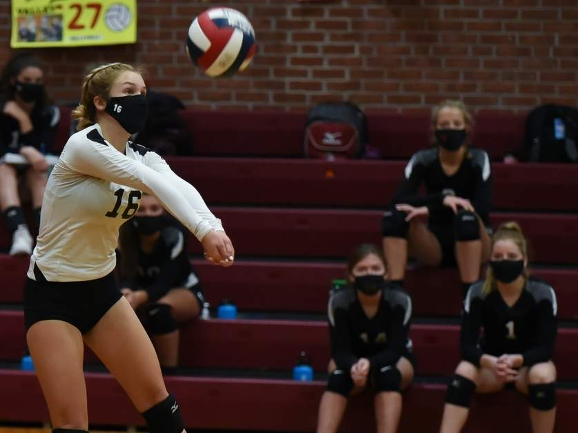 Senior captain libero Emma Counter and the Valley Regional girls' volleyball team notched a win and a defeat last week to move to 6-1 on the season. Counter served up 17 points and had 13 digs in the Warriors' loss versus Haddam-Killingworth on Oct. 29.  Photo by Kelley Fryer/The Courier
