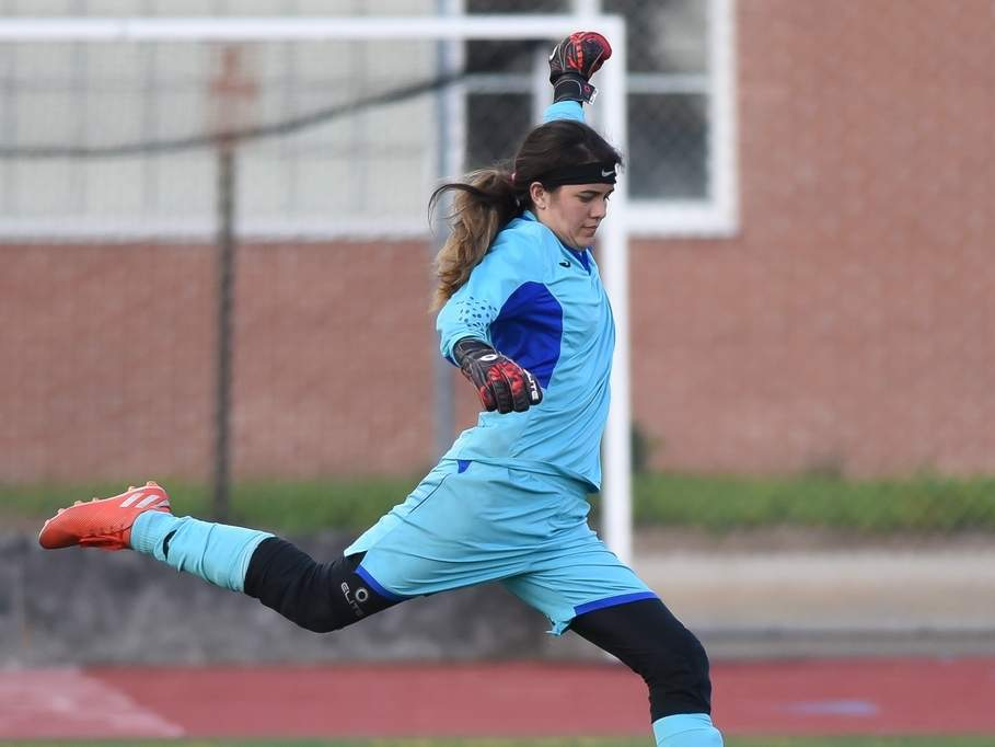 Senior captain goalie Angelina Munoz made a combined 37 saves in two games to help the East Haven girls' soccer squad earn a tie with Guilford and a win versus Hand during the last week of the regular season. File photo by Kelley Fryer/The Courier