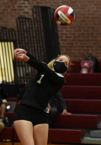 Junior Madison Nevaiser and the Warriors' girls volleyball squad scored a shutout victory over Cromwell on the road on Nov. 2. File photo by Kelley Fryer/The Courier
