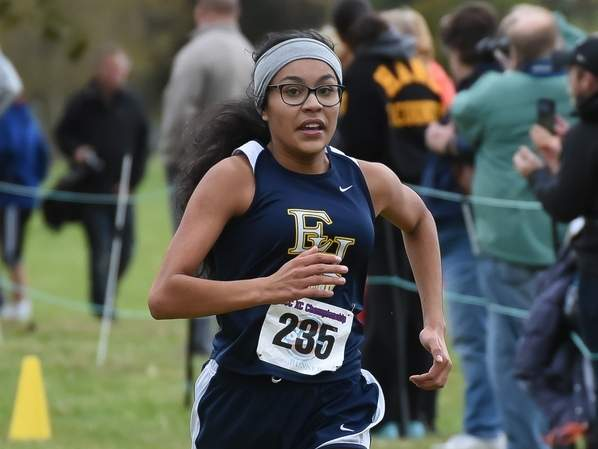 Junior Juliana Espinoza led the pack for the Yellowjackets when they competed at the SCC Division A Championship on Nov. 4. File photo by Kelley Fryer/The Courier