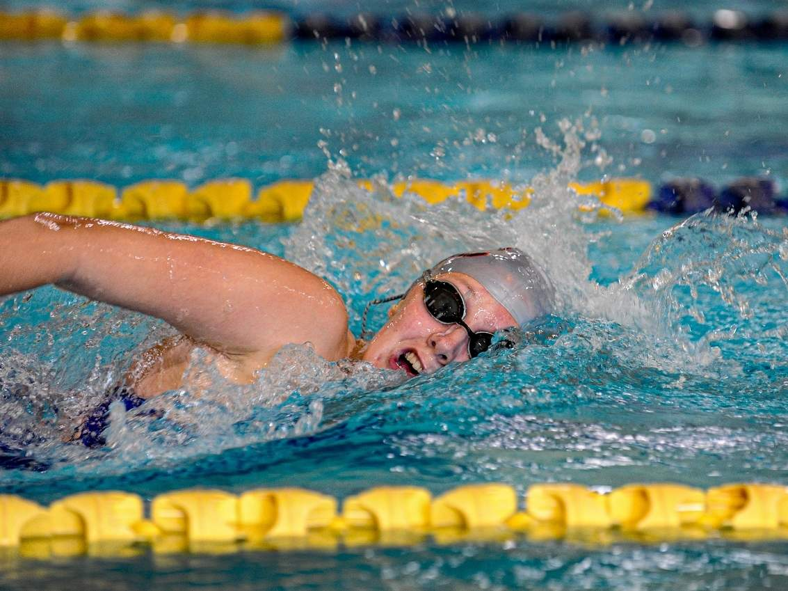 Junior Norah Rome earned first place in the 200 and 500 freestyle events when the East Haven girls' swim team took part in the SCC Division II Virtual Championship last week. File photo by Susan Lambert/The Courier