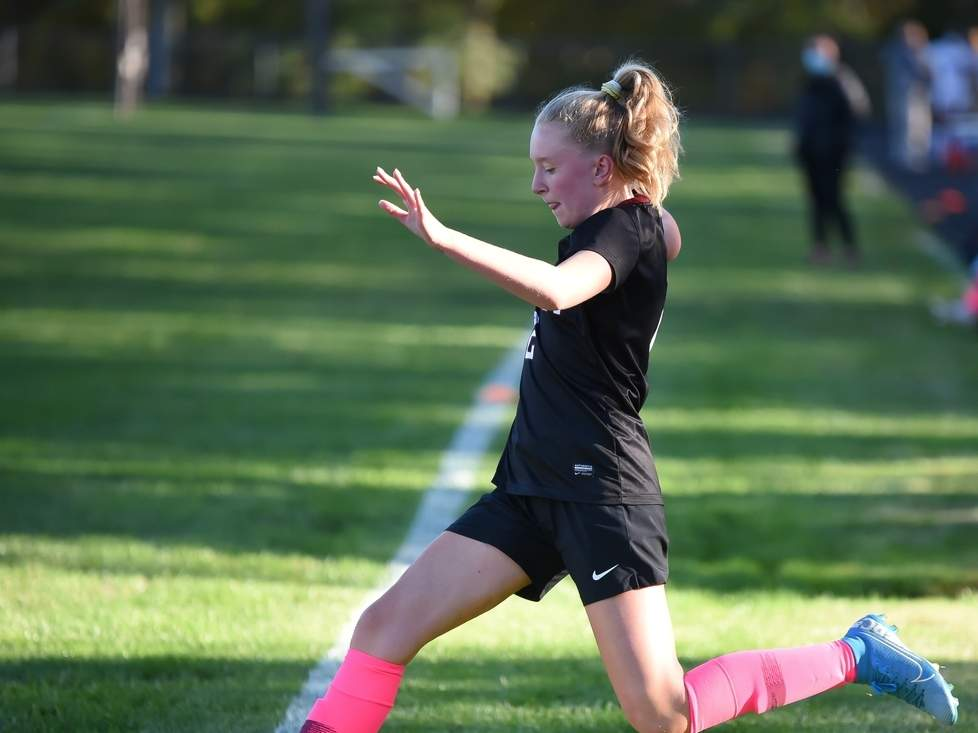 Sophomore Grace Abderhalden and the Valley Regional girls' soccer squad finished were unable to compete in the Shoreline Conference Tournament this past week after Valley Regional High School had to close due to positive COVID-19 tests. File photo by Kelley Fryer/The Courier