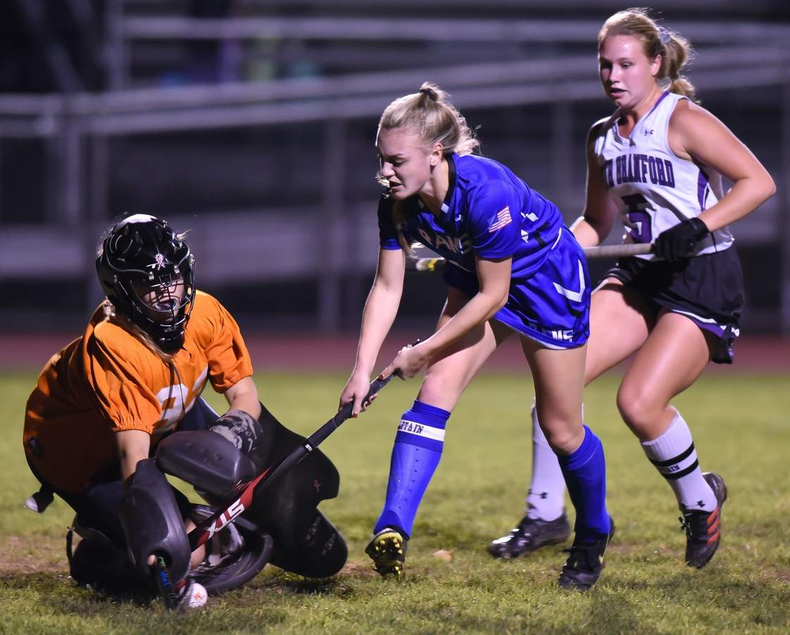 Old Saybrook field hockey lost 0-2 to North Branford in the Shoreline Conference Championship at North Branford. Kayla Holt (1) Photo by Kelley Fryer/Harbor News