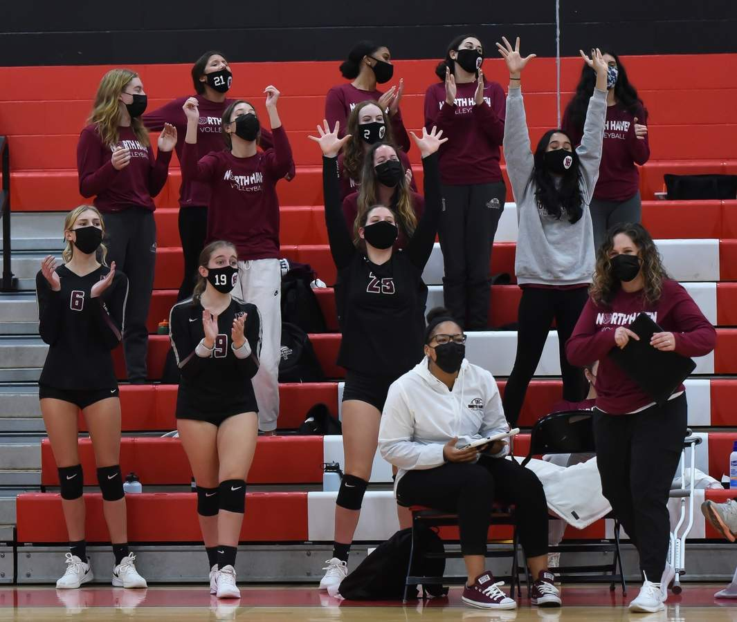 North Haven girls volleyball lost 0-3 to Cheshire in the SCC Championship game at Cheshire High School. Head Coach Brianna Kleckner Photo by Kelley Fryer/The Courier