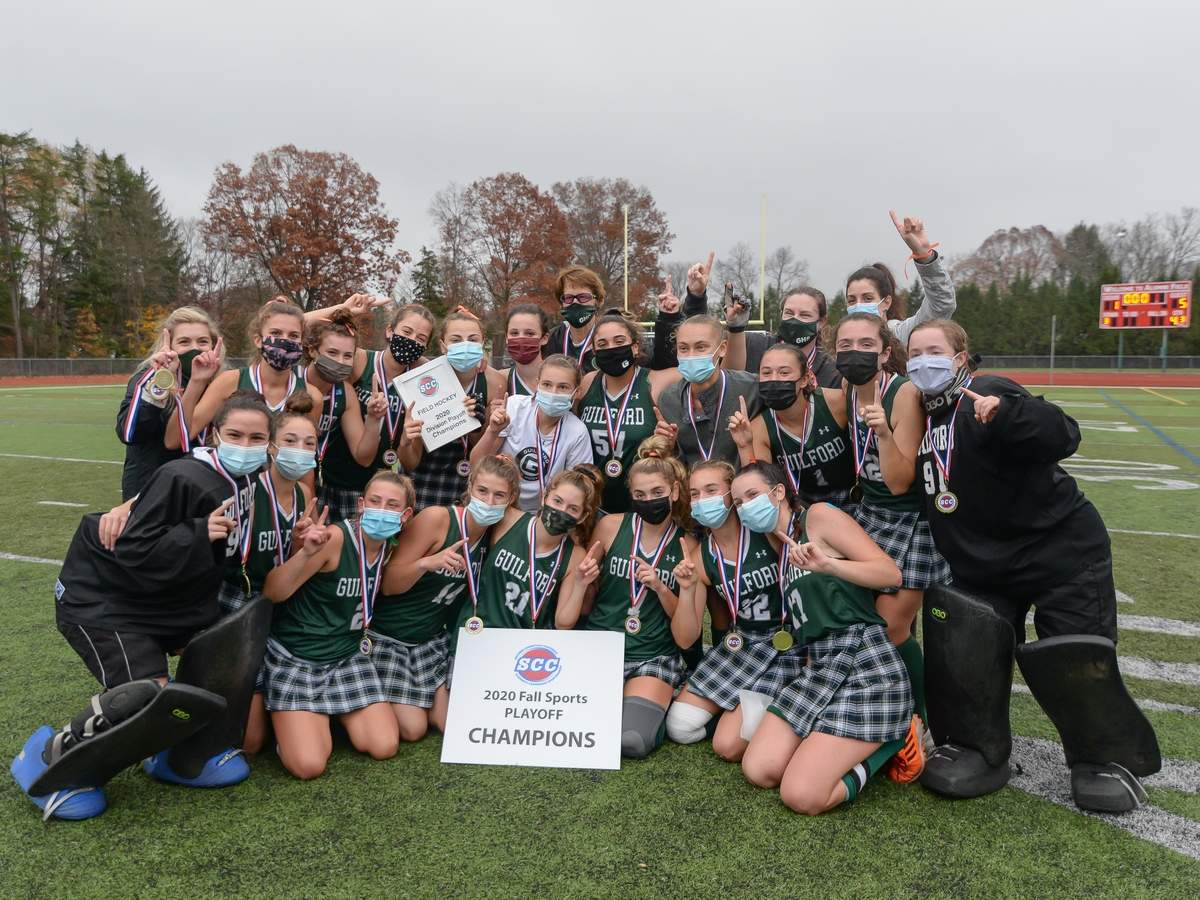Guilford girls field hockey beat Cheshire 5-1 to claim the2020  SCC Championship at Cheshire High School.  Photo by Kelley Fryer/The Courier