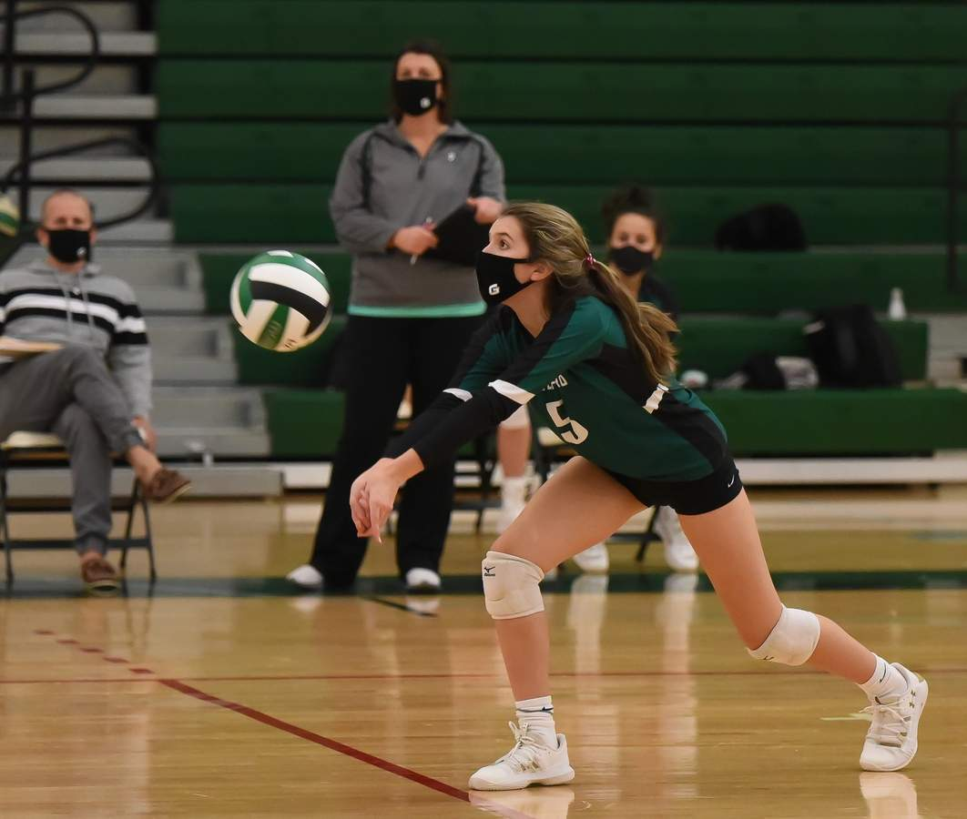 Guilford girls volleyball beat East Haven 3-0 to win the SCC Championship at Guilford High School. Halle Krause  (5) Photo by Kelley Fryer/The Courier