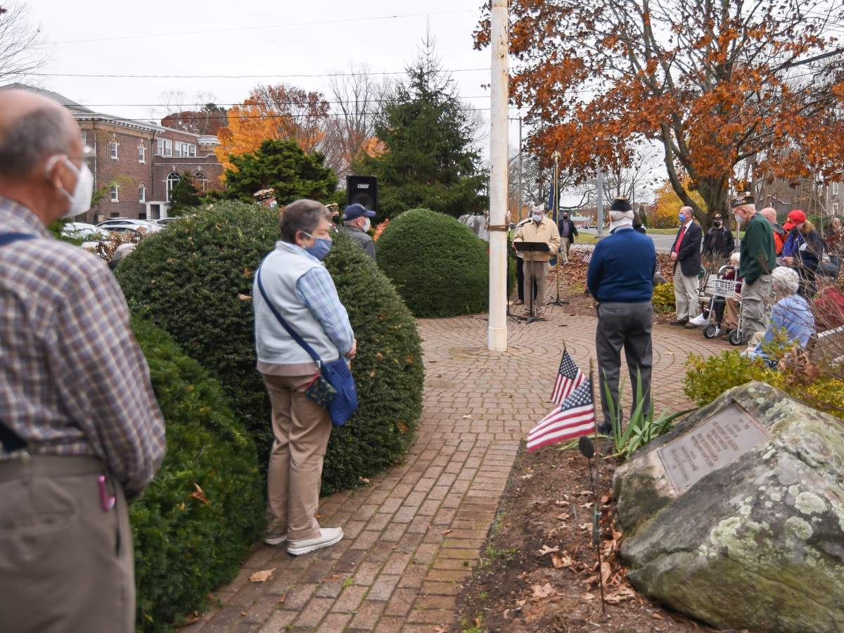 A Veterans Day ceremony took place on the Madison Green led by members of the VFW Post 2096 and American Legion Post 79. Larry Brundrett Cmdr VFW Post 2096 welcomed everyone.  Photo by Kelley Fryer/The Source
