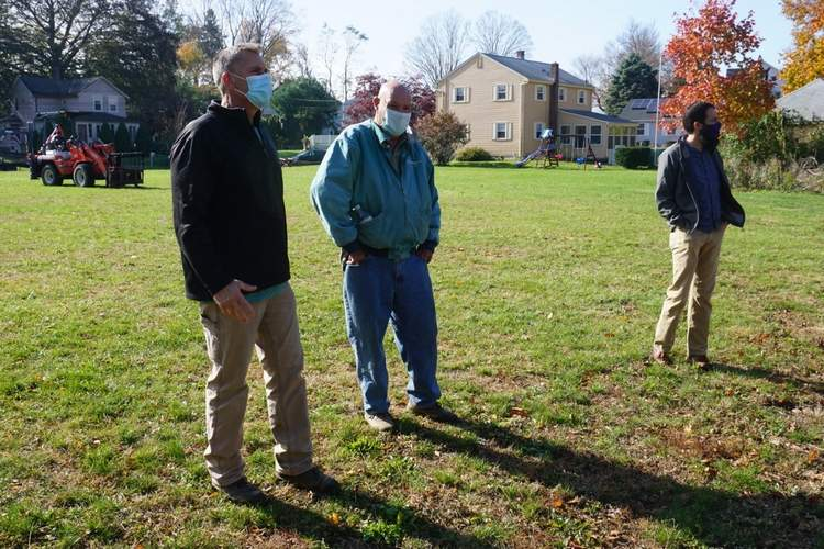 Looking over the site at Foote Riverside Park on Nov 6 are (l-r) Branford Public Works' Gary Zielinski, Bill Van Wilgen, president of Van Wilgen's Garden Center and Patrick Sweeney of the Branford Community Forest Commission.   Photo by Daniel Rabin