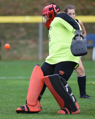 Sophomore goalie Fallyn Belisle provided a steady presence in the cage for the Warriors this year. File photo by Kelley Fryer/The Courier