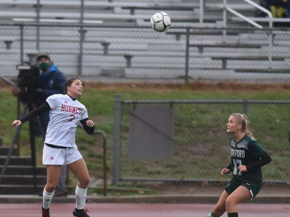 Sophomore Ava Ferrie scored 11 goals and dished out five assists on her way to making the All-SCC Division B and All-State teams for the Branford girls' soccer squad this year. Ferrie helped the Hornets finish with a record of 6-4-2 and advance to the championship game of the SCC Division B Tournament. Photo by Kelley Fryer/The Sound