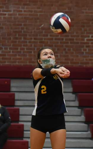 Lola Chagnon punched up 75 digs as a sophomore for the H-K girls' volleyball team this fall. File photo by Kelley Fryer/The Source