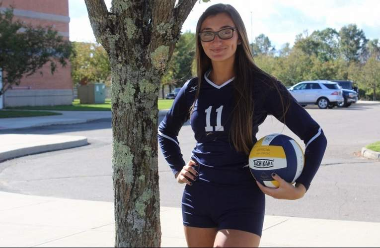 Senior Gia Buonfiglio earned a spot in the starting lineup as an opposite hitter for the East Haven girls' volleyball squad this year. Photo courtesy of Kris SanGiovanni