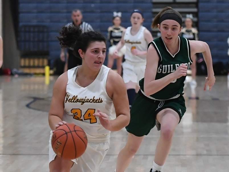 Senior captain Alexis Pendziwater finished her career with East Haven girls' hoops by helping the Yellowjackets get back to the SCC final this winter. East Haven made it as far as the Class MM state quarterfinals before the rest of the tournament was canceled due to the COVID-19 pandemic. File photo by Kelley Fryer/The Courier