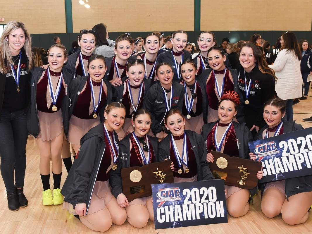 The Branford dance team continued its dynasty by taking the titles in the Small Varsity Hip-Hop and Jazz divisions at the State Championship for the sixth year in a row this winter. The Hornets were slated to compete at the New England Championship, but meet was canceled as a result of the COVID-19 pandemic. File photo by Kelley Fryer/The Sound
