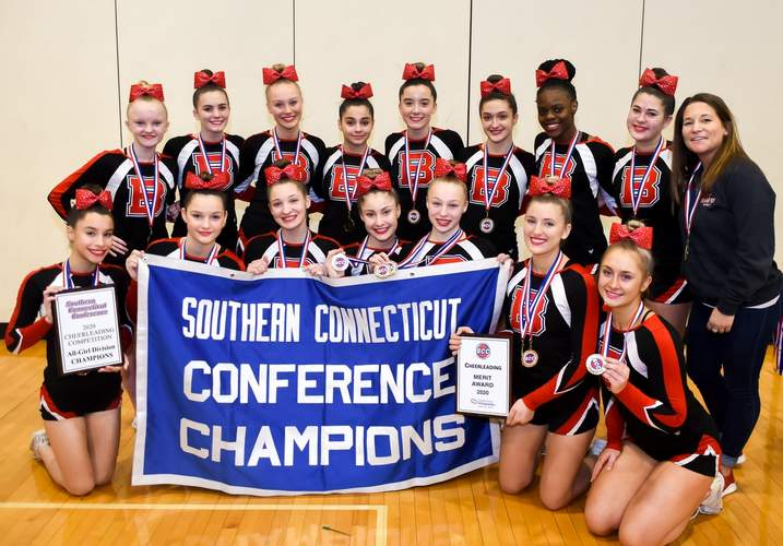 The Branford cheerleading team turned in an excellent performance at the SCC Championship in its way to claiming the eighth conference title in program history this year.  File photo by Kelley Fryer/The Sound