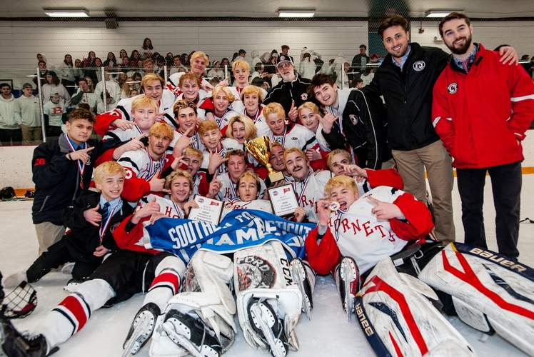 The Branford boys' ice hockey squad enjoyed a wealth of success by winning its second-straight SCC/SWC Division II Tournament title and 20 games overall before the State Tournament was canceled due to COVID-19. File photo by Susan Lambert/The Sound