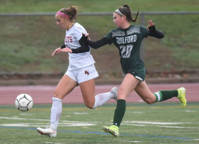 Junior captain Kendall Infantino helped the Branford girls' soccer squad advance to the championship game of the SCC Division B Tournament this fall.  File photo by Kelley Fryer/The Sound