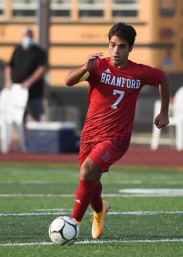 Senior captain forward Ralph Ciarleglio and the Branford boys' soccer squad posted a record of 4-4-1 in a shortened season. Ciarleglio was named All-SCC and All-State for the second year in a row. File photo by Kelley Fryer/The Sound