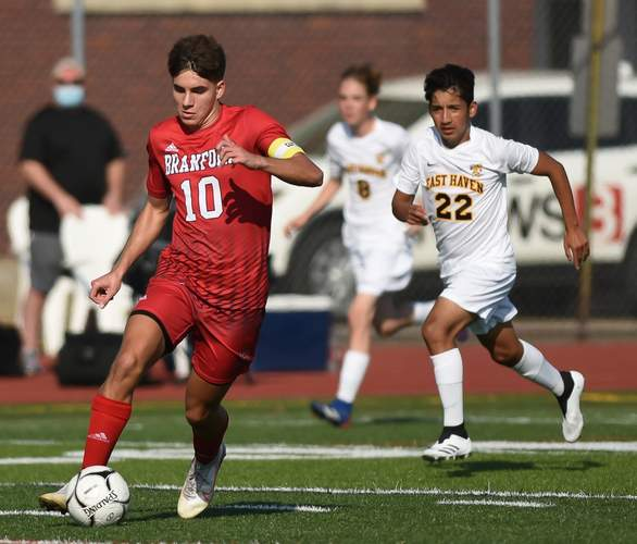 "Senior captain midfielder Din Durmic was part of four-captain group that Head Coach Paul Hunter called ""the spine"" of the Branford boys' soccer squad.  File photo by Kelley Fryer/The Sound"