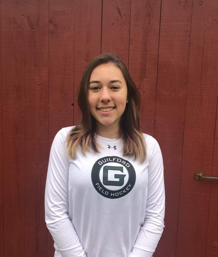 Scout Climie recovered from COVID-19 to have a sophomore solid season as a defender with the Guilford field hockey team. Scout helped Guilford win the SCC Division A Tournament during the fall campaign. Photo courtesy of Scout Climie