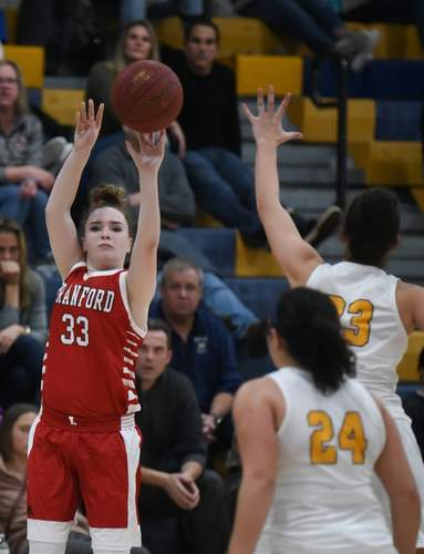 Sophomore guard Allie Bietz is penciled in to be a key part of the starting lineup for the Branford girls' basketball squad if the 2021 winter season ends up getting played. The campaign is tentatively scheduled to get underway with practices on Tuesday, Jan. 19. File photo by Kelley Fryer/The Sound