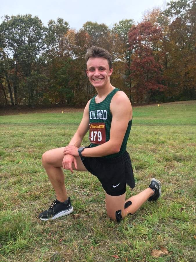 Reese Puchalski worked hard to come back a few injuries and lead the Guilford boys' cross country team as a senior captain during the 2020 fall season. Photo courtesy of Reese Puchalski