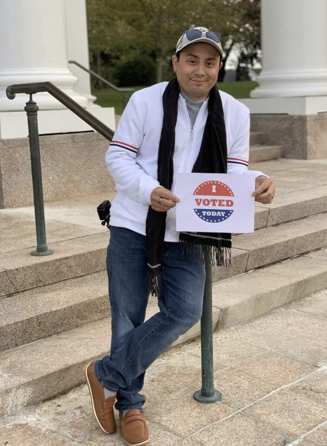 With hard work, determination, and the help of free courses offered through Shoreline Adult Education (SAE), Antonio Villanueva achieved his dream of learning to speak English, becoming an American citizen, and voting, for the very first time, in the November 2020 U.S. presidential election. He's shown here on the day he voted.   Photo courtesy of Antonio Villanueva