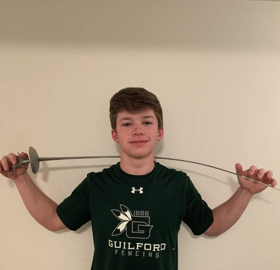 Foil fencer Peter Keanna will get his opportunity to lead the Guilford boys' fencing squad as a senior captain during the 2021 winter season. Photo courtesy of Peter Keanna