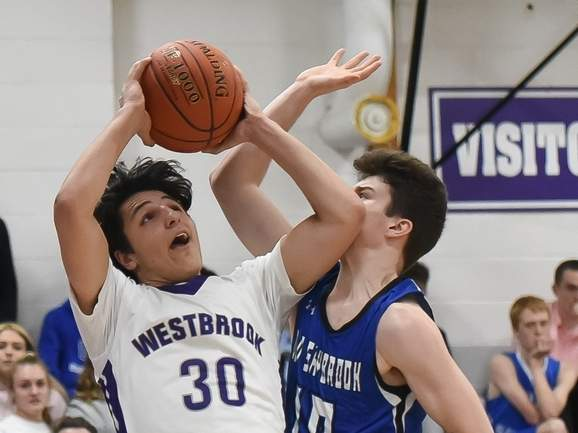 Senior captain Jack Naccarato and the Westbrook boys' basketball team are hoping to improve on their eight-win tally from last year with a more experienced squad. Naccarato led the Knights in scoring last season. File photo by Kelley Fryer/Harbor News