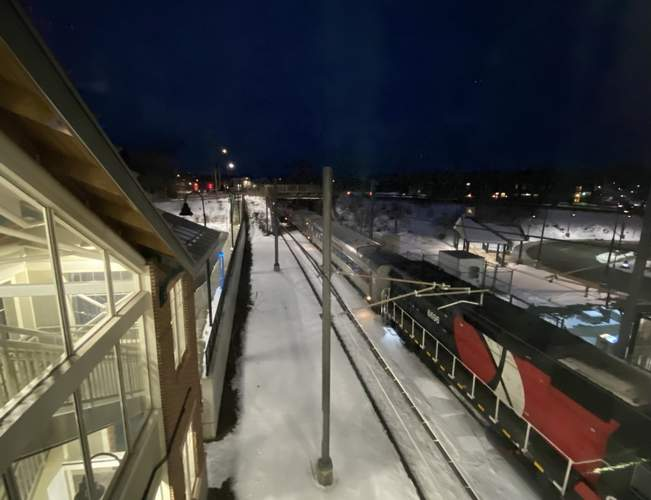 Due to an investigation into the incident, train activity in the area was suspended from approximately 1:30 p.m. until approximately 3:45 p.m. on Feb. 13, according to Shoreline East on Twitter. Shown here, a Shoreline East train at the Branford rail station operates in the early evening following service resuming on Feb. 13. Photo by Kelley Fryer/The Sound